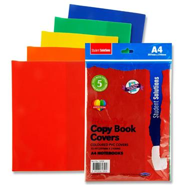 Student Solutions Pkt.5 A4 Pvc Heavy Duty Copy Book Covers - 5 Asst Colours
