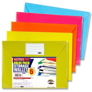 PREMIER OFFICE PKT.5 A4 BUTTON DOCUMENT WALLETS - BRIGHT