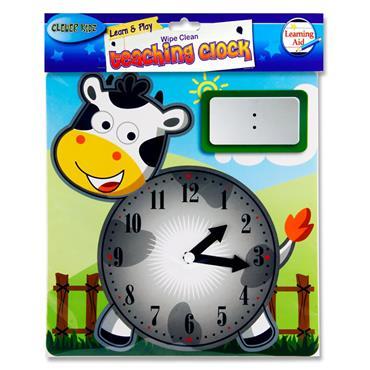 CLEVER KIDZ WIPE-CLEAN 25x26cm TEACHING CLOCK - COW