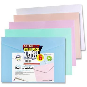 Premto Pastel Pkt.5 A4 Button Wallet 5 Asst.
