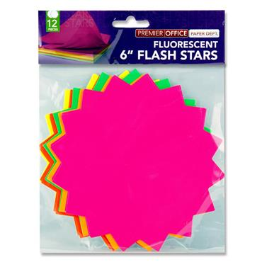 "Premier Office Pkt.12 6"" Flash Stars"