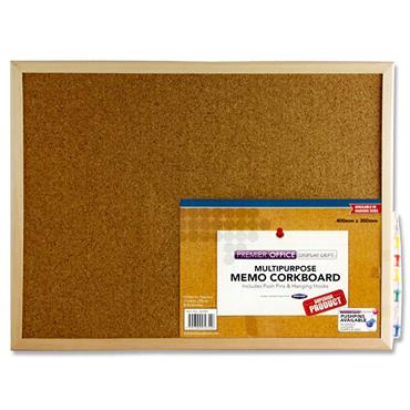 Premier Office Memo Cork Notice Board 40x30cm