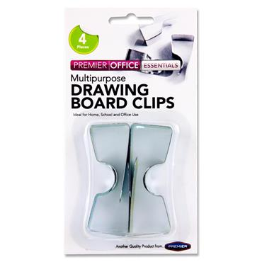 Premier Office Card 4 Drawing Board Clips