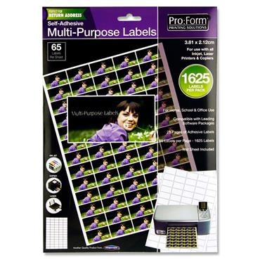 Pro:form 25 Sheets - 65 Labels 38x21mm