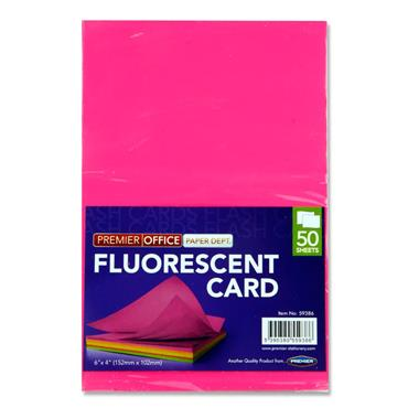 "Premier Office Pkt.50 6""x4"" Fluorescent Card"