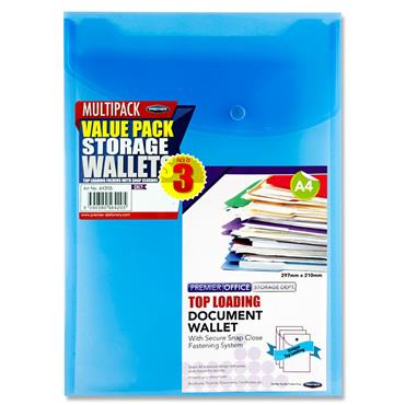 Premier Office Pkt.3 A4 Upright Top Loading Document Wallet 3 Asst.