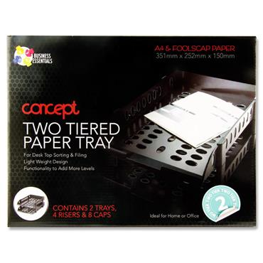 Concept 2 Tiered A4/fc Paper & Letter Tray - Black