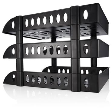 Concept 3 Tiered A4/fc Paper & Letter Tray - Black