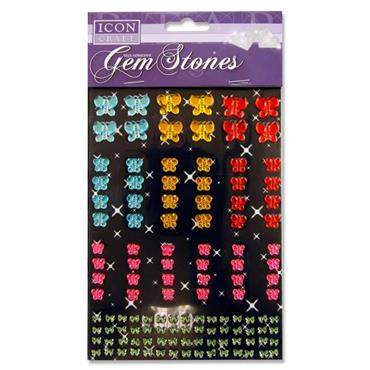 Icon Craft Pkt.120 Self Adhesive Gem Stones - Butterfly Asst.