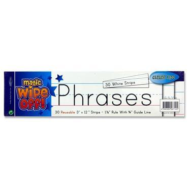 "Clever Kidz Pkt.30 Wipe-off Reusable Phrase Strips 3""x12"" - White"