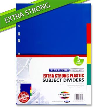 Premier Office A4 PP Extra Strong Coloured Subject Dividers - 5 Part
