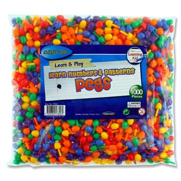 Clever Kidz Bag 1000 Coloured Pegs For Peg Boards