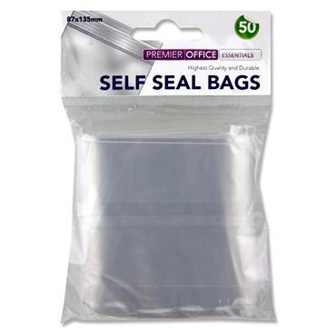 Premier Office Pkt.50 Self Seal Bags - 87x135mm