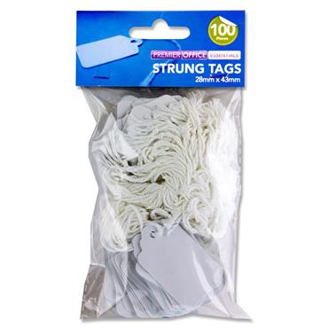 Premier Office Pkt.100 Strung Tags - 28x43mm