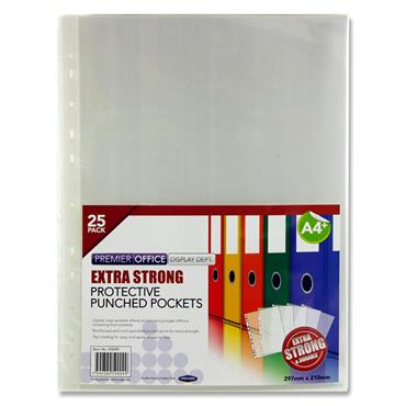 Premier Office Pkt.25 A4+ Extra Strong Punched Pockets