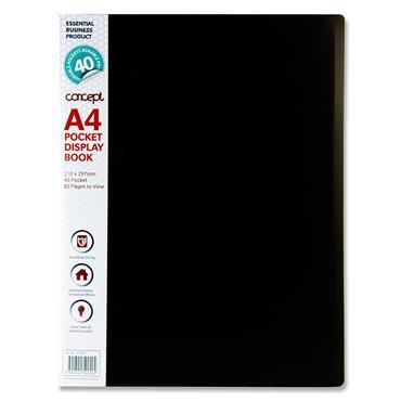 Concept A4 40 Pocket Display Book - Black