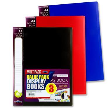 Premier Office Pkt.3 A4 40 Pocket Display Book 3 Asst Bold