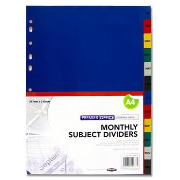 Premier Office Monthly Subject Dividers - 12 Part