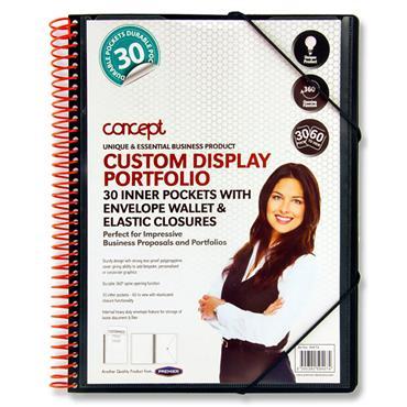 Concept A4 30 Pocket Spiral Presentation Display Book