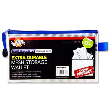 Premier Office Dl Extra Durable Mesh Wallet - Transparent White