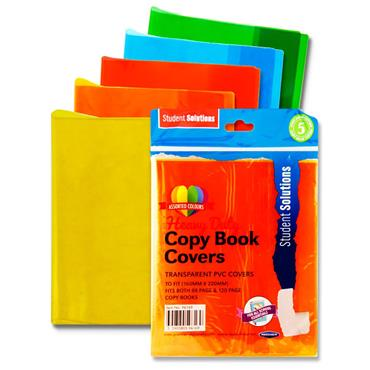 Student Solutions Pkt.5 Pvc Heavy Duty Copy Book Covers - 5 Asst Transparent Colours