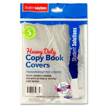 Student Solutions Pkt.5 Pvc Heavy Duty Copy Book Covers