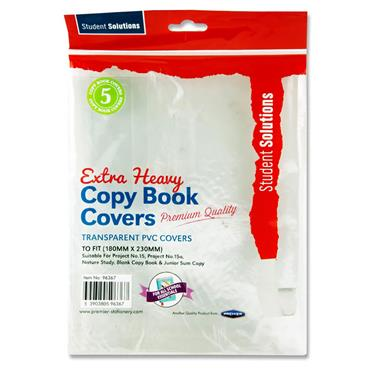 Student Solutions Pkt.5 Pvc Extra Heavy Project & Junior Copy Book Covers