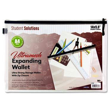 Student Solutions A4 Xxl Ultramesh Expanding Wallet - Clear Pearl