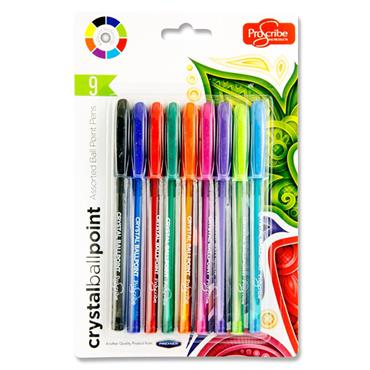 Pro:scribe Card 9 Crystal Ballpoint Pens - Bright