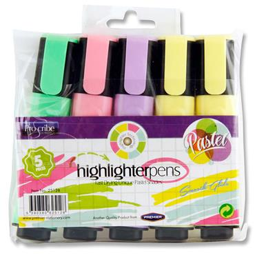 Pro:scribe Pkt.5 Highlighter Pens - Pastel