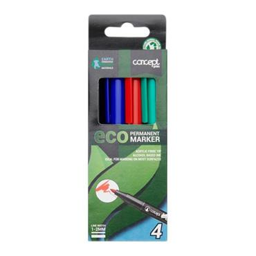 CONCEPT GREEN BOX 4 ECO FELT TIP PERMANENT MARKERS