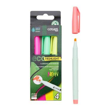 CONCEPT GREEN BOX 4 ECO CHISEL TIP HIGHLIGHTERS - NEON