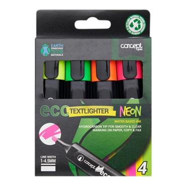CONCEPT GREEN BOX 4 ECO CHISEL TIP CONCEPT GREEN BOX 4 CHISEL TIP TEXTLIGHTER- NEON