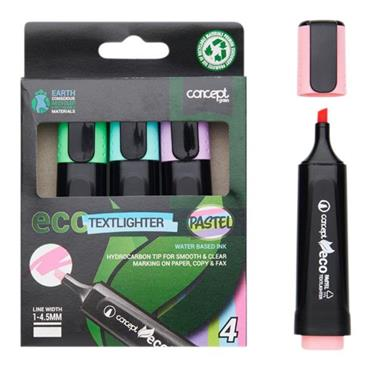 CONCEPT GREEN BOX 4 ECO CHISEL TIP TEXTLIGHTER - PASTEL
