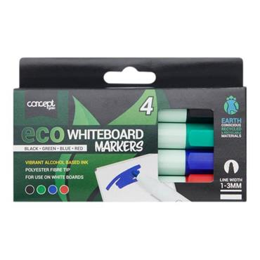 CONCEPT GREEN BOX 4 ECO BULLET TIP WHITE BOARD MARKERS