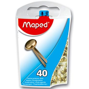 Maped Box 40 17mm Paper Fasteners - Brass