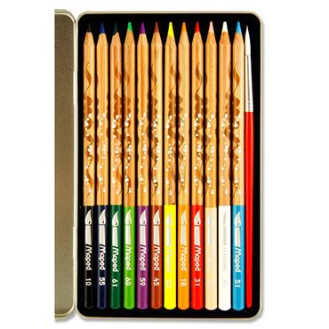 Maped Tin 12 Watercolour Artist Pencils & Paintbrush