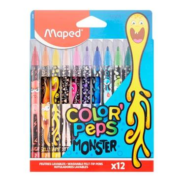 MAPED COLOR'PEPS PKT.12 COLOUR MARKERS - MONSTER