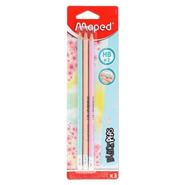 MAPED BLACKPEP'S CARD 3 ERGO HB PENCILS W/ERASER - PASTEL