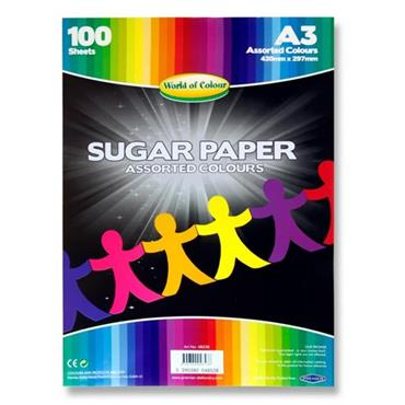 Woc A3 Sugar Paper 100 Sheets - Coloured