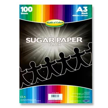 Woc A3 Sugar Paper 100 Sheets - Black