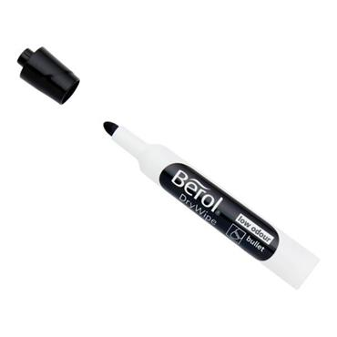 BEROL DRY WIPE BULLET TIP WHITEBOARD MARKER - BLACK