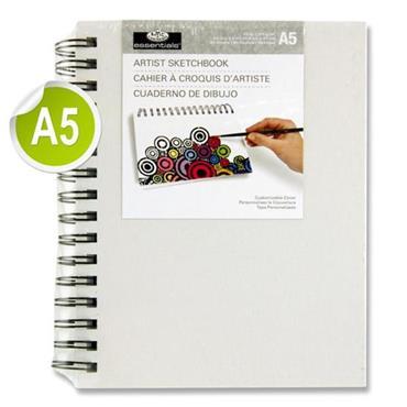 Essentials A5 110gsm Artist Canvas Cover Wiro Sketch - 80 Sheets