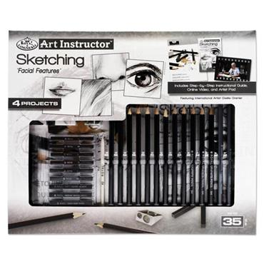 ART INSTRUCTOR 35pce 4 PROJECT ART SET - SKETCHING