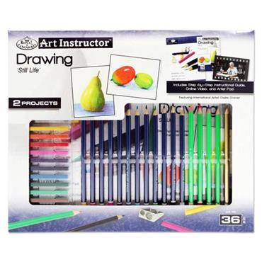 ART INSTRUCTOR 36pce 2 PROJECT ART SET - DRAWING