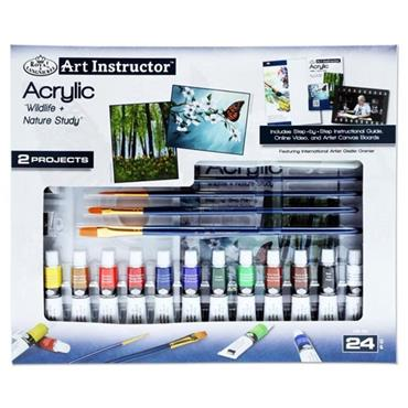 ART INSTRUCTOR 24pce 2 PROJECT ART SET - ACRYLIC