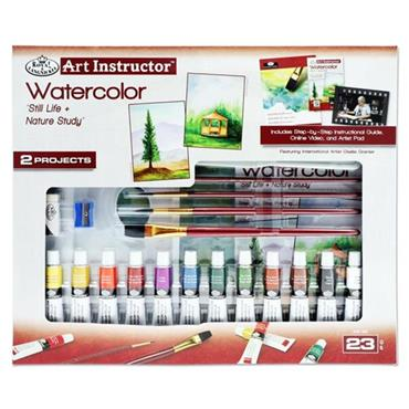 ART INSTRUCTOR 23pce 2 PROJECT ART SET - WATERCOLOUR