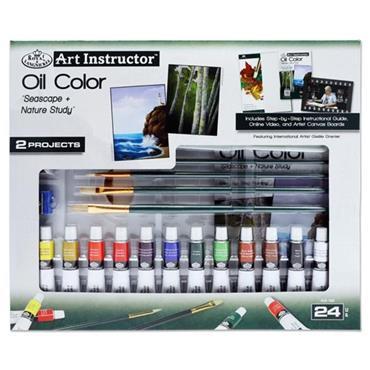 ART INSTRUCTOR 24pce 2 PROJECT ART SET - OIL COLOUR