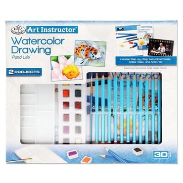 ART INSTRUCTOR 30pce 2 PROJECT ART SET - WATERCOLOUR DRAWING