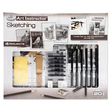 ART INSTRUCTOR 20pce 4 PROJECT ART SET - SKETCHING